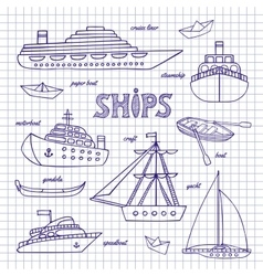 Ships on a notebook sheet vector