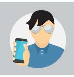A Man Holding a Mobile Phone Communication vector image