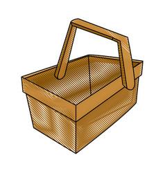 cartoon wooden basket picnic for food image vector image