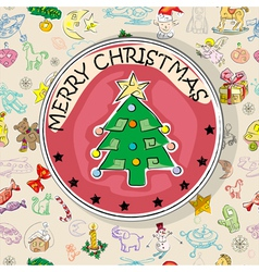 Christmas tree card pattern vector image