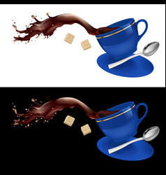 coffee in blue cup on white and black background vector image vector image