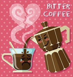 Crying coffee cup and italian coffee maker vector