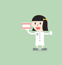 female dentist showing teeth model vector image