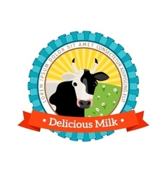 Fresh and natural milk logo vector image vector image