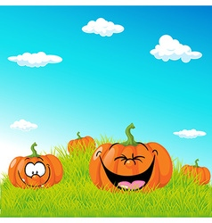 funny with pumpkin on green grass - vector image