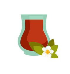 Green or black tea with jasmine in turkish cup vector