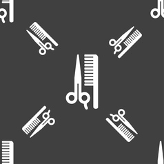 Hair icon sign seamless pattern on a gray vector