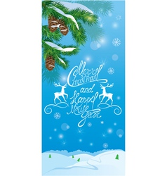 Handwritten text Merry Christmas and happy New Yea vector image