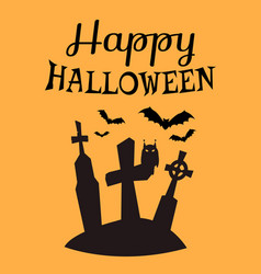 Happy halloween poster with tombstones silhouettes vector