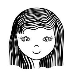 Happy woman hairstyle icon vector