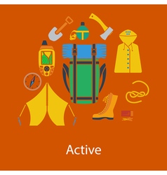 hiking flat design vector image vector image