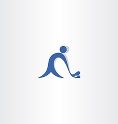 Hockey player logo blue icon vector