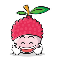 Laughing face lychee cartoon character style vector