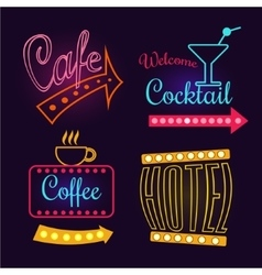 Neon Signs of Cafe Hotel and Cocktail Isolated vector image