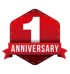 One year anniversary badge with red ribbon vector
