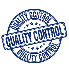 Quality control blue grunge stamp vector