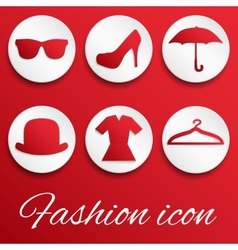Red fashion realistic button set vector