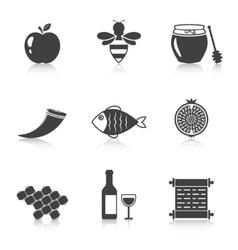 Rosh hashanah shana tova icons vector