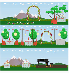 Set of outdoors wedding scenery posters in vector