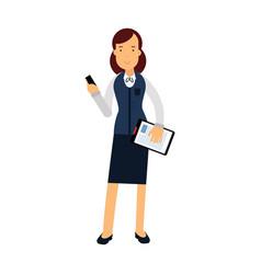 smiling businesswoman cartoon character in elegant vector image