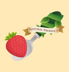 strawberry food natural product poster vector image