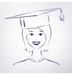 Student girl wearing graduation hat vector
