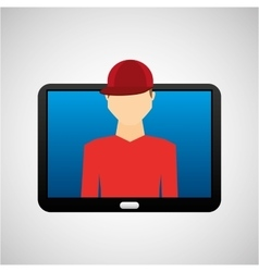 Tablet black technology and character hipster vector