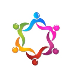 Teamwork swooshes helping people logo vector image vector image