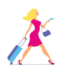 young woman with suitcase at airport or train vector image vector image