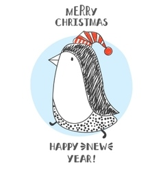 penguin in Santa hats vector image