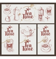 utensils for drinking tea vector image