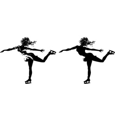 Stylized silhouette of a girl on skates vector image