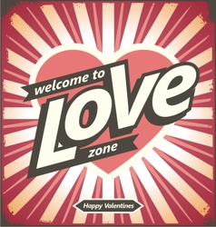 Valentines day vintage tin sign design concept vector