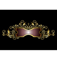 Gold frame with the decor in the old style vector
