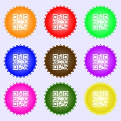 Qr code icon sign a set of nine different colored vector