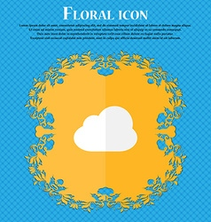 Cloud floral flat design on a blue abstract vector