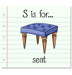 Flashcard letter s is for seat vector