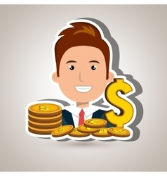 Man with coins isolated icon design vector
