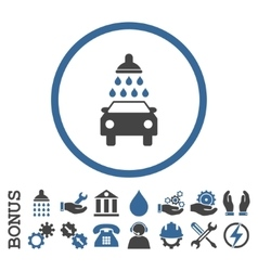 Car wash flat rounded icon with bonus vector