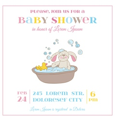 Baby shower or arrival card - baby bunny girl vector