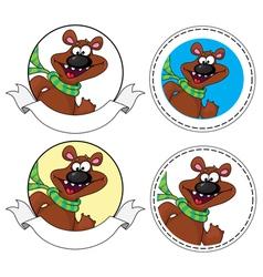 bear head banner vector image vector image
