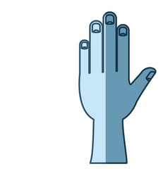 Blue shading silhouette of left hand vector