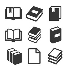 book icons set on white background vector image