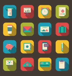 Business and office objects flat icons with long vector