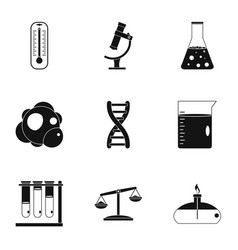 Chemistry science icon set simple style vector