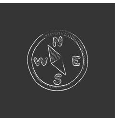 Compass drawn in chalk icon vector