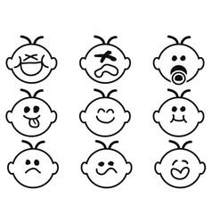Cute baby face icons vector