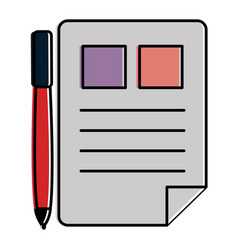 document paper with pen vector image