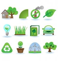 environment icon set vector image vector image