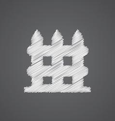 Fence sketch logo doodle icon vector